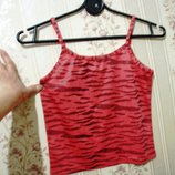 Майка футболка 7-10-13 лет девочка, кофта, лето красная, принт под тигра