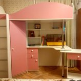 Кровать-Чердак с выдвижным столом и угловым шкафом к26-3 Merabel