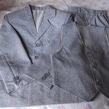 р.122/128 Классический строгий костюм - Двойка - лён-габардин светло-серый.