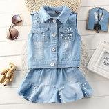 Детский джинсовый костюм для девочки Жемчужинка