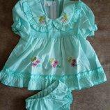 Платье детское с трусиками. Цвет желтый,мятный,розовый