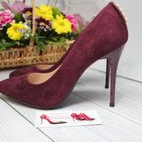 Бордовые классические туфли лодочки в наличии