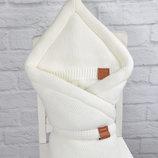 Конверт-Одеяло на выписку зимний вязаный для новорожденного в роддом