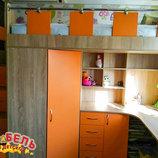 Детская кровать-чердак с рабочей зоной, угловым шкафом, тумбой и лестницей-комодом кл21-5