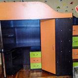 Кровать-Чердак с рабочей зоной, угловым шкафом и лестницей-комодом кл17