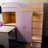 Кровать-Чердак с выдвижным столом, шкафом, полками и пеналом к8