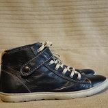 Красивые легкие темно-синие кожаные хайтопы Bibob Германия 38 р.