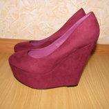 Carvela туфли 35-36р по ст 22.5см цвет марсала бордо екозамш обуты 2 раза
