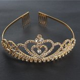 Диадема тиара корона венец гребень гребешок украшение принцесса танцы свадьба на праздник карнавал