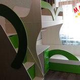Детская двухъярусная кровать с рабочей зоной и лестницей-комодом ал14-2 Merabel