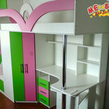 Кровать-Чердак с рабочей зоной, угловым шкафом и лестницей-комодом кл6-4 Merabel