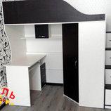 Кровать-Чердак с мобильным столом, угловым шкафом и лестницей-комодом кл4 Merabel