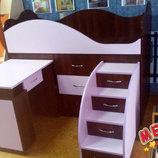 Кровать детская с выдвижным столом, ящиками и выдвижной лестницей-комодом дл1-4 Merabel