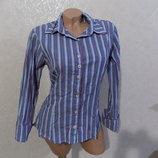 Блузка рубашка в полоску коттоновая фирменная Pripam размер 44-46