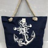 Пляжная сумка на канатах синего цвета якорь