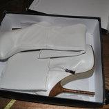 Сапоги белые кожаные натуральные высокий каблук демисезон нарядные 37