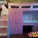 Кровать-Чердак с рабочей зоной, шкафом и лестницей-комодом кл31 Merabel
