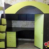 Кровать-Чердак с рабочей зоной, угловым шкафом и лестницей-комодом кл28 Merabel