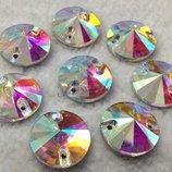 Стразы пришивные камни стекло риволи круг d10 мм Crystal AB