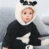 Комбинезон,ромпер Next панда 0-3 мес
