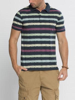 Мужское поло LC Waikiki темно-синего цвета в разноцветные полоски