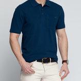 Мужское поло LC Waikiki темно-синего цвета с карманом на груди