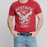 Мужская футболка LC Waikiki насыщенно-красного цвета с надписью на груди с надписью на груди Westsid