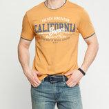 Мужская футболка LC Waikiki ярко-оранжевого цвета с надписью на груди с надписью California super