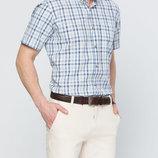 в наличии мужская рубашка LC Waikiki с коротким рукавом белого цвета в сине-голубые полоски