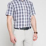 в наличии мужская рубашка LC Waikiki с коротким рукавом насыщенно-белого цвета в сине-красны полоски