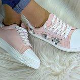 Женские стильные кроссовки пудра