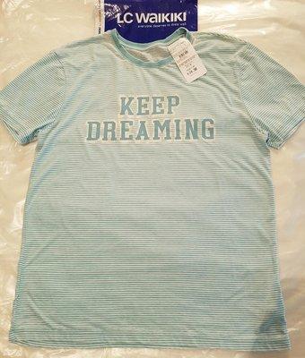 Мужская футболка LC Waikiki светло-зеленого цвета в полоску с надписью на груди Keep dreaming