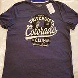 Мужская футболка LC Waikiki темно-синего цвета с надписью на груди University Colorado