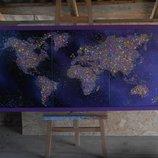 Большая комбинированная картина Карта 150х70 на холсте