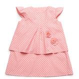 Платье летнее детское, хлопок - Розовое-Звезды