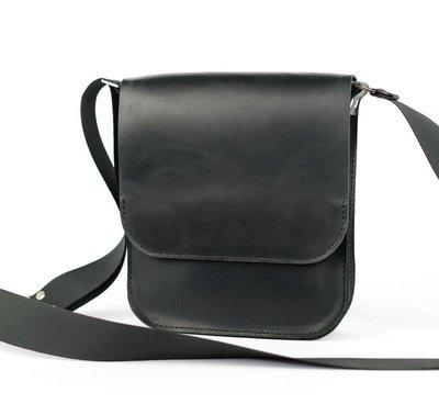 Кожа. Ручная работа. Кожаная черная мужская сумка через плечо. Барсетка.