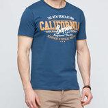 Мужская футболка LC Waikiki цвета индиго с надписью на груди California super