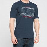 Мужская футболка LC Waikiki темно-серого цвета с белой окантовкой и надписью Distant sea cup