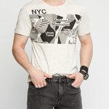 Мужская футболка LC Waikiki светло-серого цвета с надписью на груди NYC