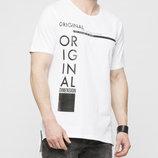 Мужская футболка LC Waikiki ярко-белого цвета с надписью на груди Original dimension