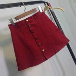 Женская юбка трапеция на пуговицах бордовая марсала