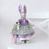 Интерьерная зайка тильда Лавандовая принцесса оригинальный подарок дочке подруге маме