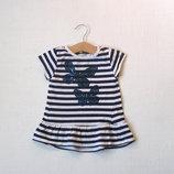Платье-Туника с бабочками в блестках для девочки 1,5-2лет
