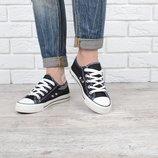 Кеды слипоны джинсовые Young черные на шнуровке