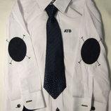Рубашка белая - латка синяя рост 104-134