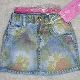 Джинсовая юбка детская с поясом в комплекте Венгрия
