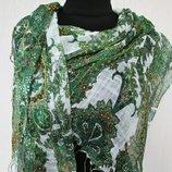 Палантин шарф легкий летний разные цвета горохи турецкие огурцы бабочки
