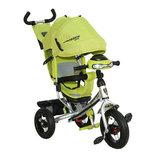Детский трехколесный велосипед Азимут Crosser T1 фара, надувные колеса, зеленый
