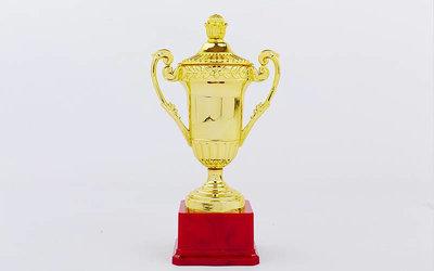 Кубок спортивный с ручками и крышкой C-857A пластик, высота 27см