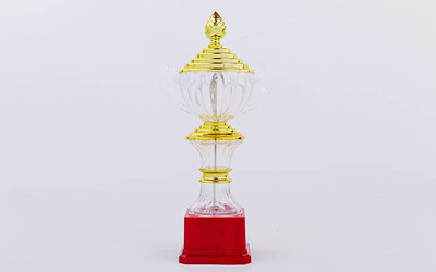 Кубок спортивный с ручками и крышкой C-895-2 пластик, высота 30см